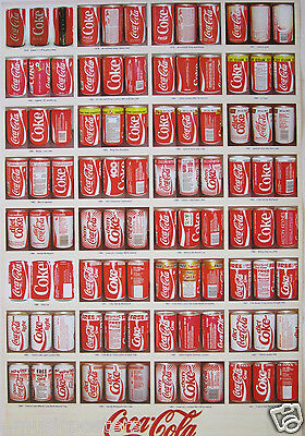 COCA-COLA VARIOUS STYLES OF COKE CANS THROUGHOUT THE YEARS POSTER v.2 - Soda Pop