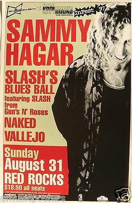SAMMY HAGAR & SLASH'S BLUES BALL 1997 DENVER CONCERT TOUR POSTER-Van Halen, G'NR