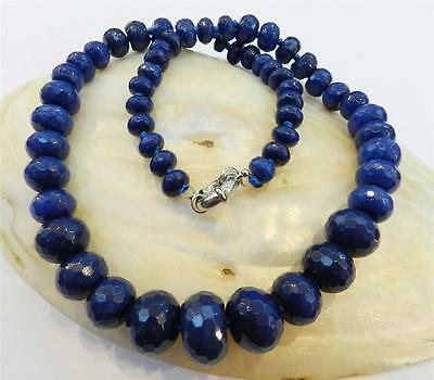 8-18mm Faceted Deep Blue Sapphire Gemstone Roundel Beads Necklace 19""