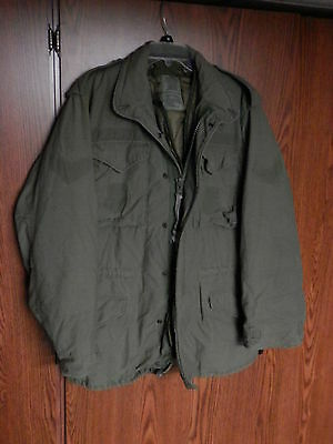 US Air Force M-65 Vintage Military Field Jacket size SMALL LONG with liner