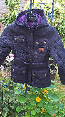 Kids BARBOUR QUILTED JACKET COAT GIRLS BARBOUR JACKET WITH HOOD Sz 6/7 Years