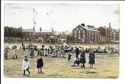 Old postcard, Lancs: 'Morecambe, The Sands'. Posted 1909.