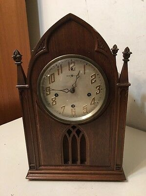 Rare Antique New Haven Westminster Chime Gothic Cathedral Mantle Clock
