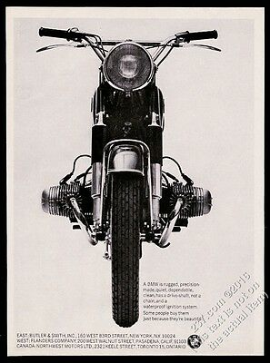 1964 BMW motorcycle classic head-on photo vintage print ad