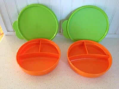 TWO Tupperware Kids Divided Bowls with Lime Green Seals Brand New