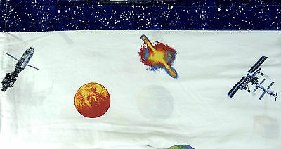 Outer Space Planet Spaceship Satellite Twin Bed Flat Sheet Only CHF Industries