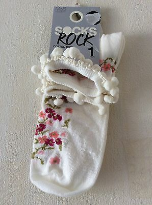 NEW M&S Girls Cotton Ankle Socks Size: (4-8)