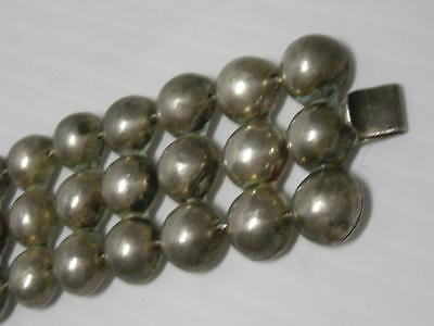 Antique / Vintage Mexican Sterling Silver Bead / Panel Bracelet- Xlnt Gift