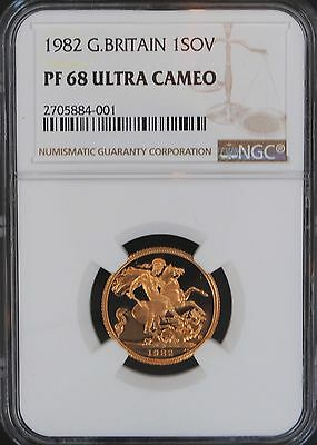 Great Britain 1982 Gold 1 Sovereign NGC PROOF 68 Ultra Cameo Sov Coin