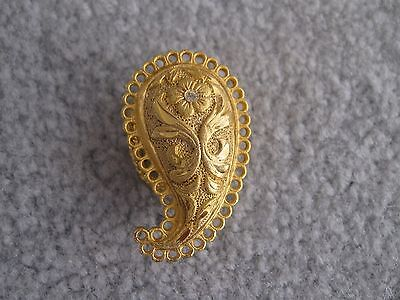 Vintage Gold tone Scarf slide,flower on paisly with loops on edge, Rhinestone