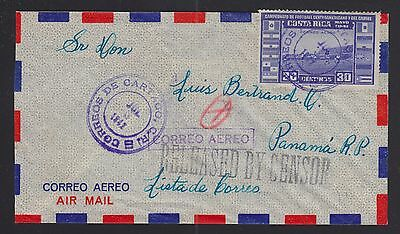 Costa Rica 1942 Wwii Released By Censor Airmail Cover Cartago To Panama City
