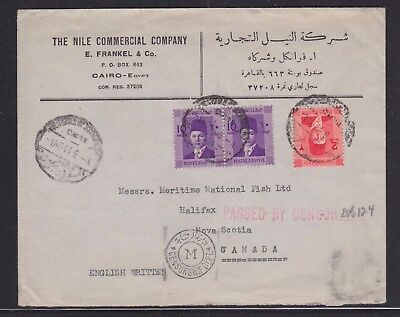 Egypt 1944 Wwii Censored Cover Cairo To Halifax Nova Scotia Canada