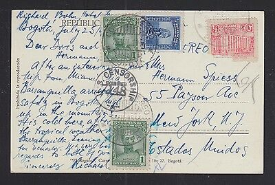 Colombia 1944 Censored Palace Of Justice Postcard Bogota To New York Usa