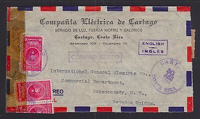 Costa Rica 1944 Wwii Censored Airmail Cover Cartago To Schenectady New York Usa