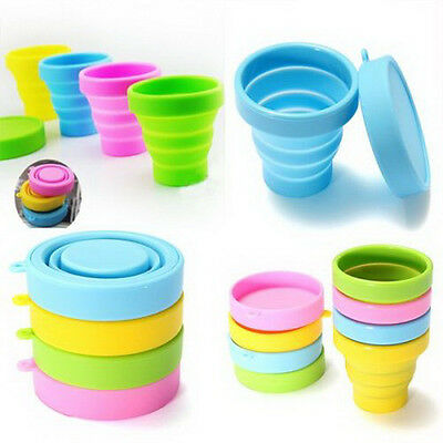 Portable Silicone Telescopic Drinking Collapsible Folding Cup Travel Camping BBU