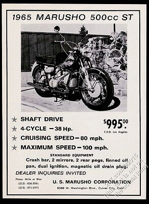 1965 Marusho 500cc ST motorcycle photo vintage print ad