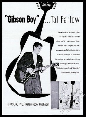 1955 Tal Farlow photo Gibson electric guitar vintage print ad