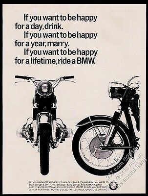 1965 BMW motorcycle photo Happy For A Lifetime vintage print ad