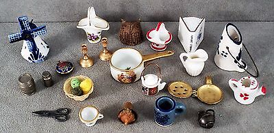 Vtg Lot 20 Pc Doll House Miniatures Pottery Limoges Sterling Brass Yarn Delft