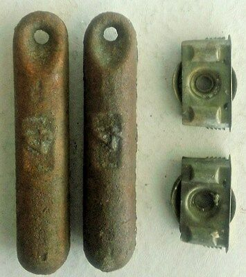 Two Antique Window Sash Roller Pulleys and Two 4-Pound Weights