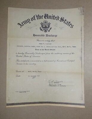 WWII Honorable Discharge from the U S ARMY - January 1945 !