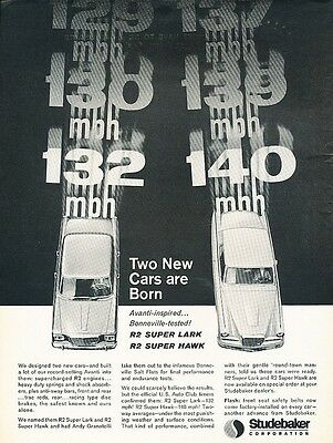 1964 1963 Studebaker R2 Lark Super Hawk Original Advertisement Print Car Ad J542
