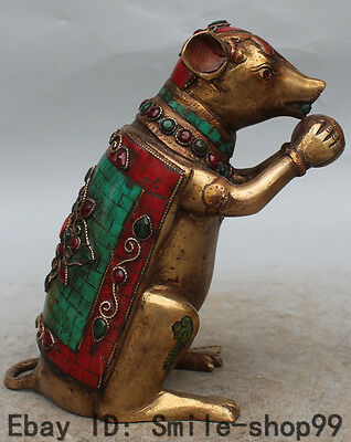 """9"""" Chinese Turquoise & Coral Gilt Feng Shui Zodiac Year Animal Mouse mice Statue"""