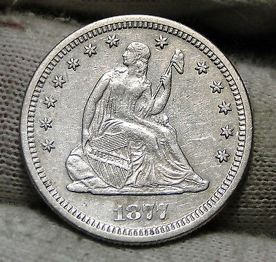 1877S Seated Liberty Quarter 25 Cents - Nice Coin, Free Shipping (4836)