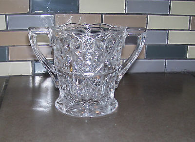 Unknown Maker Large Clear Glass Open Sugar Dish  2 Handles, vintage