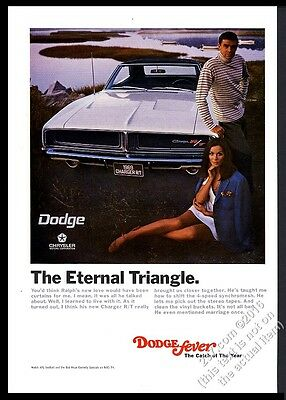 1969 Dodge Charger R/T RT white car photo The Eternal Triangle vintage print ad