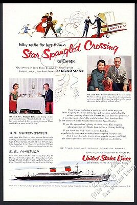 1955 SS United States Ship Robert Sherwood photo United States Lines print ad