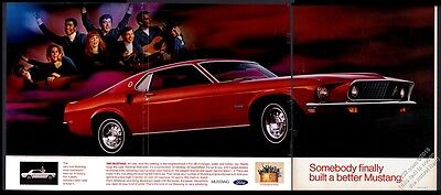1969 Ford Mustang Sportsroof big red car photo vintage print ad