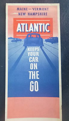1953 Maine Vermont New Hampshire road map Atlantic Gas  Oil Company