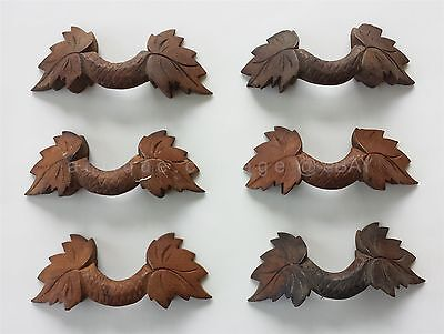LOT antique 6pc black forest CARVED WOOD DRAWER PULLS eastlake victorian HANDLES