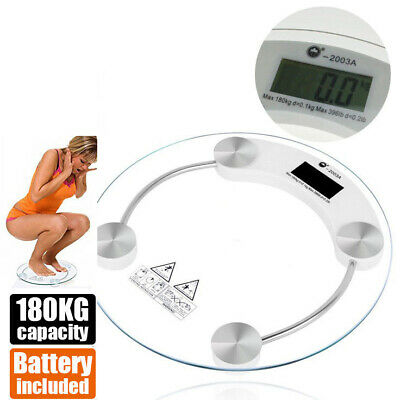 Digital Body Scale LCD Glass Weight Scales Bathroom Gym Electronic 180KG