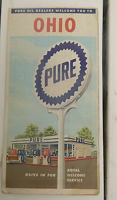 1957 Ohio  road map Pure  oil gas oil can