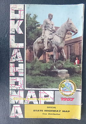 1957 Oklahoma  road  map Official state highway  route 66