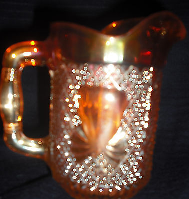 Vintage Amber Carnival Glass Pineapple Milk Jug