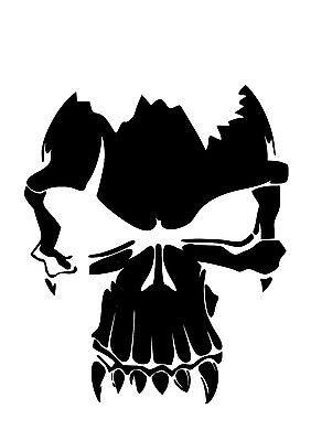 High Detail Fanged Skull Airbrush Stencil - Free UK Postage