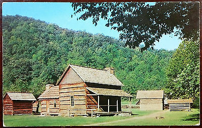1950's Postcard Pioneer Farmstead G Smoky Mountains N.  Park North Carolina