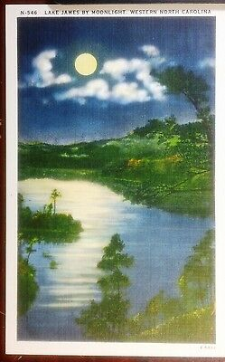 1940's Postcard Lake James by Moonlight Western North Carolina