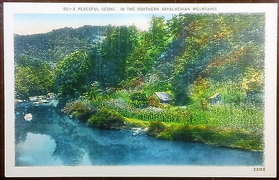 1940's Postcard Lake Scene Southern Appalachian Mountains North Carolina