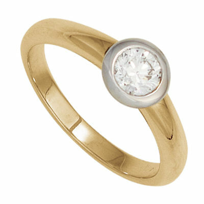 Solitaire Ring Women's ring Diamond 0,25 Ct 585 Gold yellow/white, Gold ring