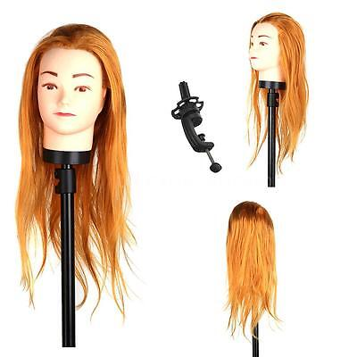 Gold Hair Hairdressing Training Head Practice Model Mannequin with Clamp R7N3