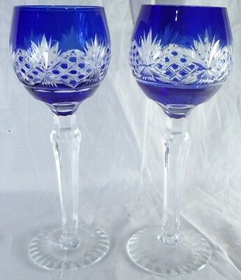 Pair Bohemian Cobalt Blue Cut to Clear Cordial long stem Glasses