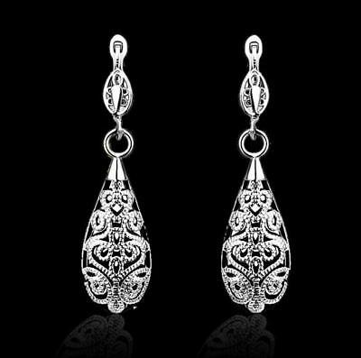 Antique Vintage Style 18K Rose Gold/Silver Plated Dangle Drop Earrings for Women