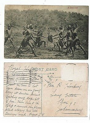 Post Card Early Printed Ethnic South Africa A Stick Fight