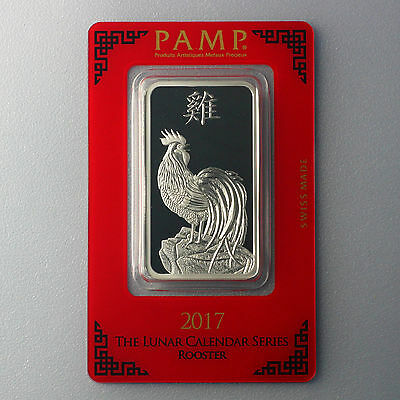 Pamp Suisse 1 oz Lunar Hahn year of the Rooster 2017 999 Silber Silberbarren