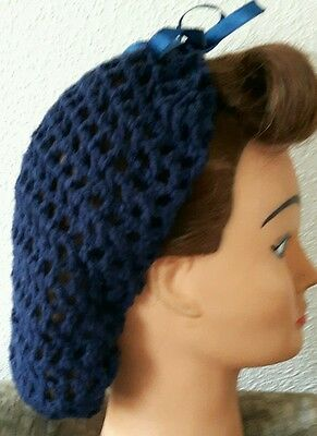 Hair Snood ( Navy With Blue Ribbon, Handmade 1940's Style)