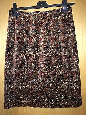 Laura Ashley Vintage Paisley Velour Skirt In Autumnal Shades Size Waist 27 Inch